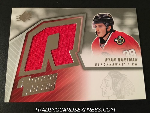 Ryan Hartman Blackhawks 2015 2016 Upper Deck SPX Rookie Fabric Jersey Card SPXRRH Front