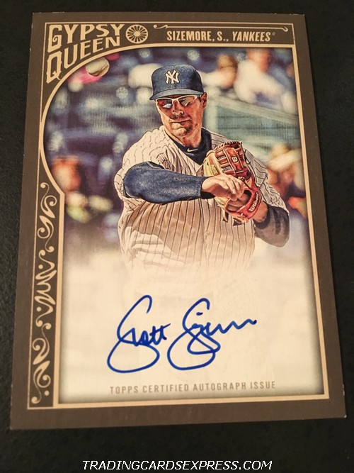 Scott Sizemore Yankees 2015 Topps Gypsy Queen Autograph Card GQASS Front