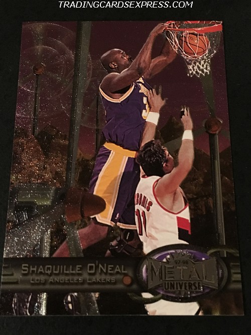 Shaquille O'Neal Lakers 1997 1998 Skybox Metal Universe 50 Front