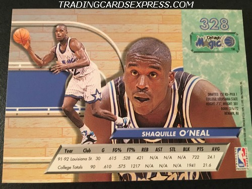 Shaquille Oneal Magic 1992 1993 Fleer Ultra Rookie Card 328