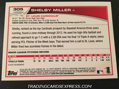 Shelby Miller Cardinals 2013 Topps Rookie Card 305 Back