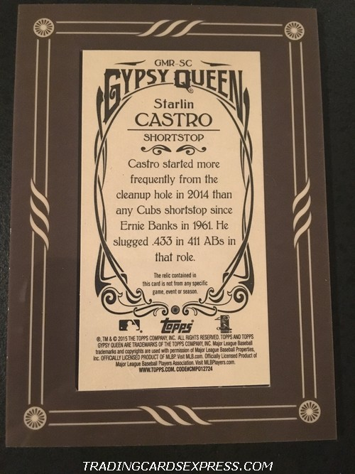 Starlin Castro Cubs 2015 Topps Gypsy Queen Boarder Mini Jersey Card GMRSC Back