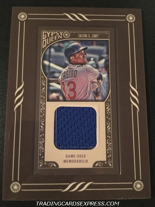 Starlin Castro Cubs 2015 Topps Gypsy Queen Boarder Mini Jersey Card GMRSC Front