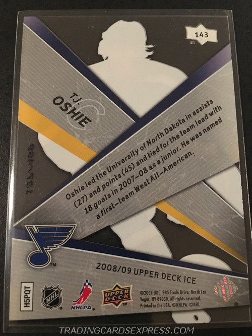 T.J. Oshie Blues 2008 2009 Upper Deck Ice Premieres Rookie Card 143 127 499 Back