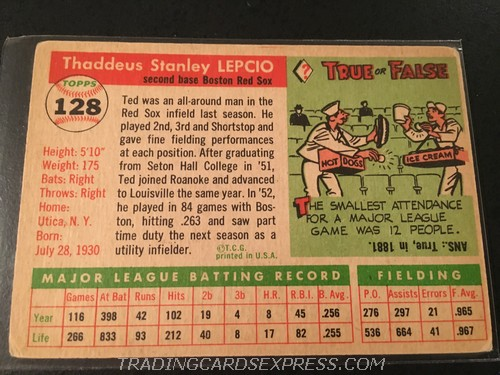 Ted Lepcio Red Sox 1955 Topps 128 Back