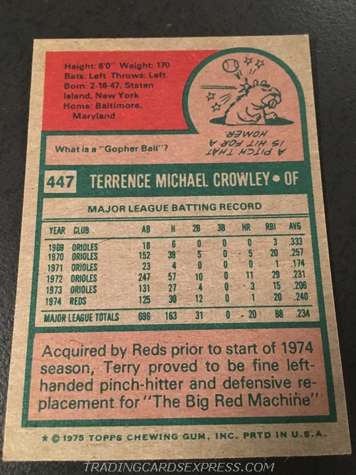 Terry Crowley Reds 1975 Topps Mini 447 Back