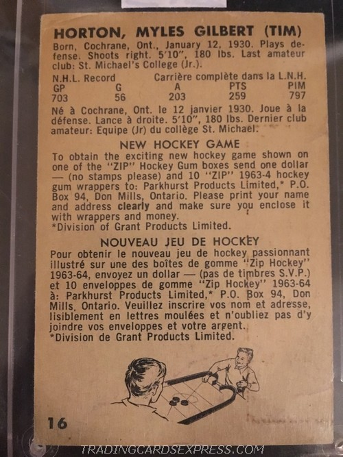 Tim Horton Maple Leafs 1963 1964 Parkhurst 16 Back