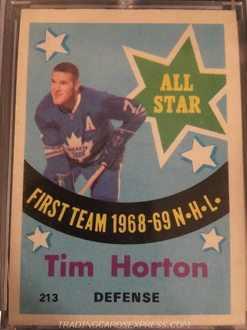 Tim Horton Maple Leafs 1969 1970 Topps All Star 213 Front