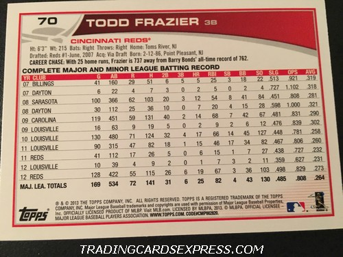 Todd Frazier Reds 2013 Topps All Star Rookie 70 Back