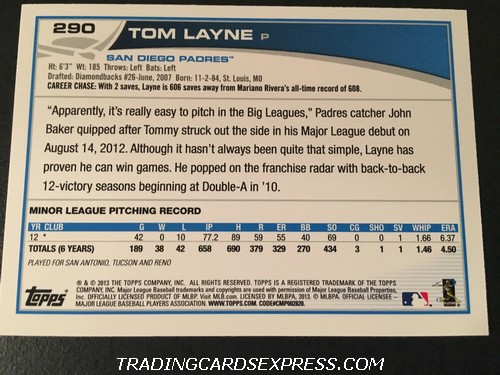 Tom Layne Padres 2013 Topps Rookie Card 290 Back