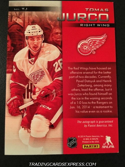 Tomas Jurco Red Wings 2013 2014 Panini Expo Signatures Autograph Rookie Card TJ Back