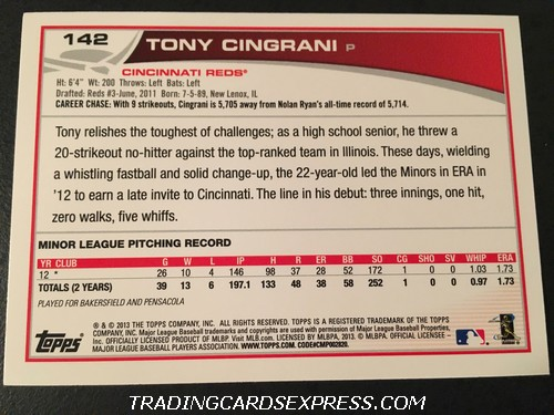 Tony Cingrani Reds 2013 Topps Rookie Card 142 Back