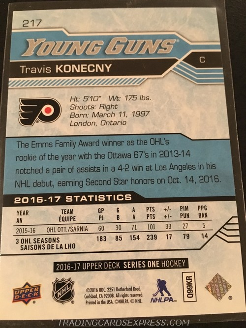 Travis Konecny Flyers 2016 2017 Upper Deck Young Guns Rookie Card 217 Back