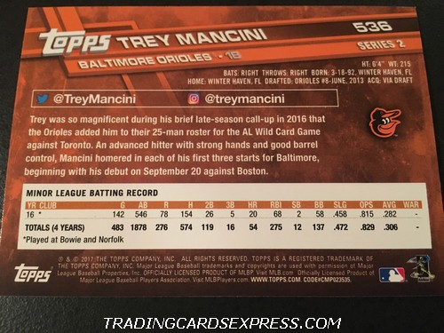 Trey Mancini Orioles 2017 Topps Rookie Card 536 Back