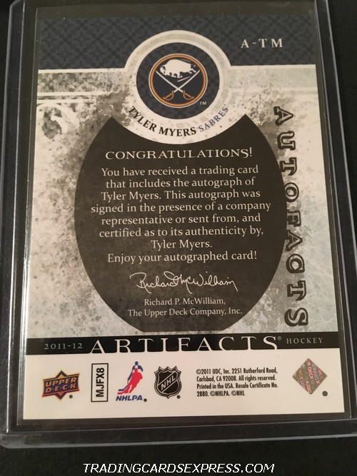 Tyler Myers Sabres 2011 2012 Artifacts Autofacts Autograph Card ATM Back