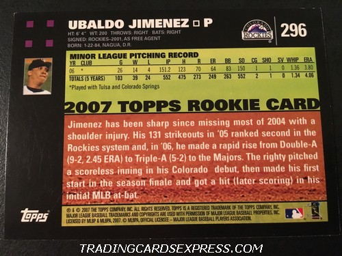 Ubaldo Jimenez Rockies 2007 Topps Rookie Card 296 Back