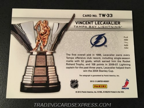 Vincent Lecavalier Lightning 2012 2013 Panini Limited Trophy Winners Autograph Card TW33 28 99 Back