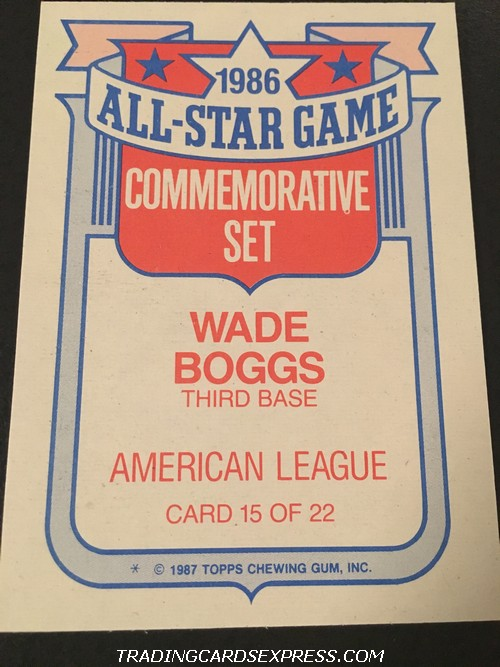 Wade Boggs Red Sox 1987 Topps All Star Game Commemorative Set 15 Back