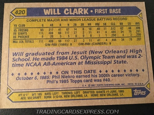 Will Clark Giants 1987 Topps Rookie Card 420 Back