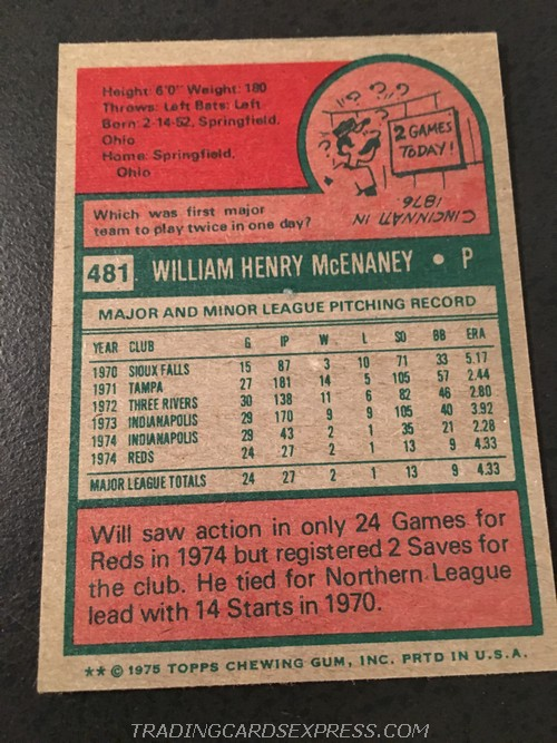 Will McEnaney Reds 1975 Topps Mini Rookie Card 481 Back