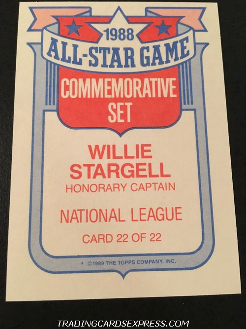 Willie Stargell Pirates 1989 Topps All Star Game Commemorative Set 22 Back