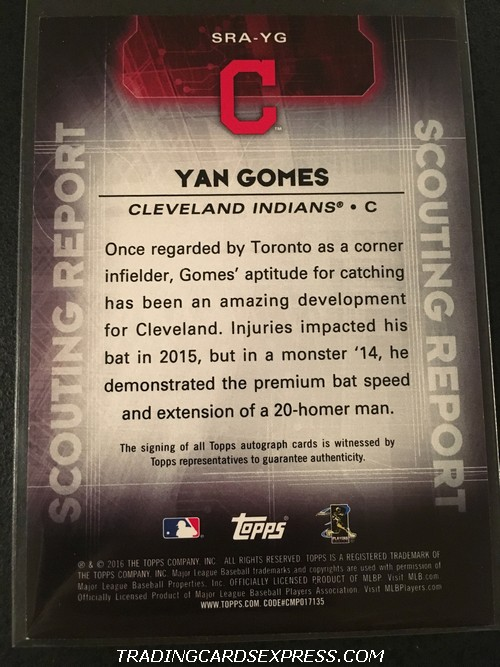 Yan Gomes Indians 2016 Topps Scouting Report Autograph Card SRAYG Back