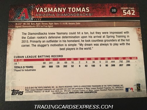 Yasmany Tomas Diamondbacks 2015 Topps Rookie Card 542 Back