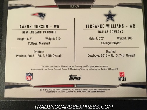 Aaron Dobson Patriots Terrance Williams Cowboys 2013 Topps Prime Dual Combo Jersey Card DCRDW 115 330 Back