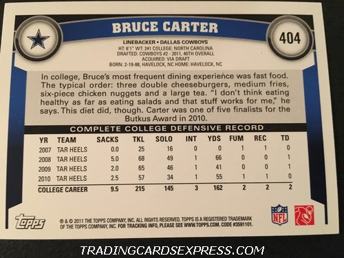 Bruce Carter Cowboys 2011 Topps Rookie Card 404 Back
