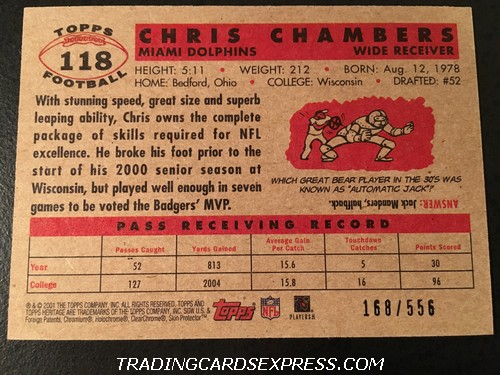 Chris Chambers Dolphins 2001 Topps Heritage Rookie Card 118 168 556 Back