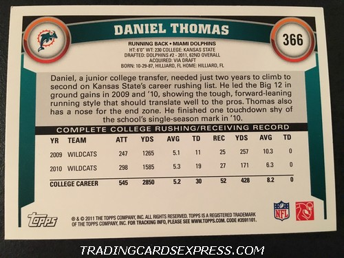 Daniel Thomas Dolphins 2011 Topps Rookie Card 366 Back