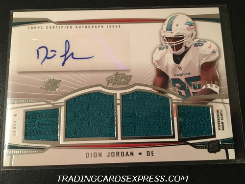 Dion Jordan Dolphins 2013 Topps Prime V Autograph Jersey Rookie Card PVDJ 134 449 Front