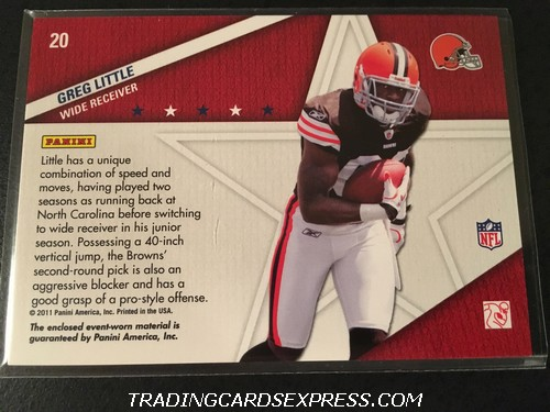 Greg Little Browns 2011 Panini Absolute Memorabilia Star Gazing Jersey Card 20 Back