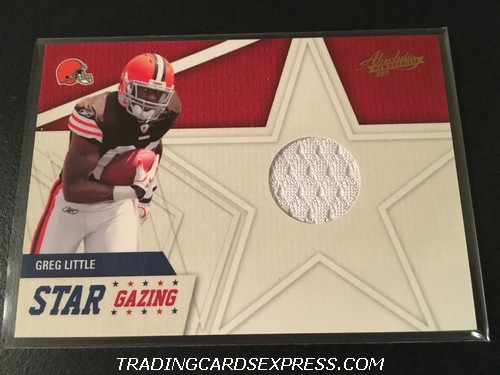 Greg Little Browns 2011 Panini Absolute Memorabilia Star Gazing Jersey Card 20 Front