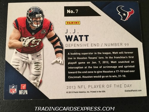 J.J. Watt Texans 2013 Panini NFL Player Of The Day 7 Back