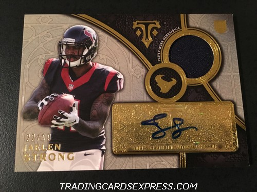 Jaelen Strong Texans 2015 Topps Triple Threads Autograph Jersey Rookie Card TTRARJS 22 99 Front
