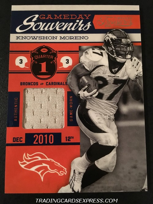 Knowshon Moreno Broncos 2011 Timeless Treasures Gameday Souvenirs Jersey Card 19 146 150 Front