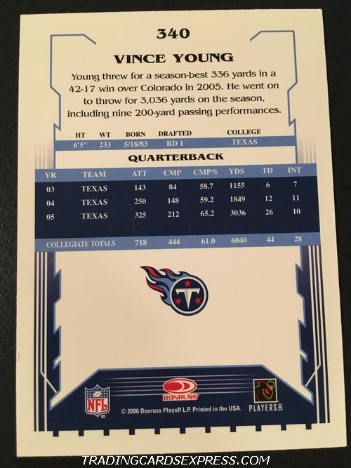 Vince Young Titans 2006 Score Rookie Card 340 Back