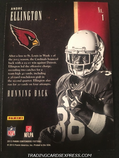 Andre Ellington Cardinals 2013 Panini Contenders Draft Class Rookie Card 1 Back