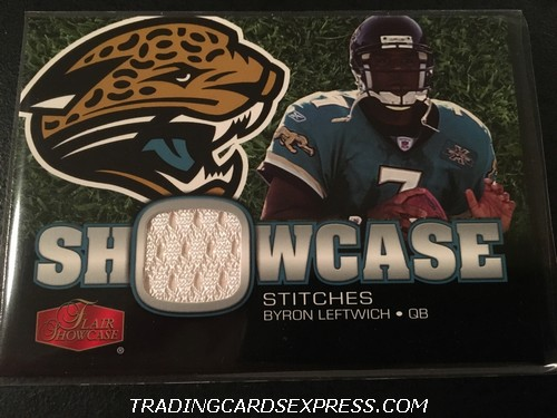 Byron Leftwich Jaguars 2006 Fleer Flair Showcase Showcase Stitches Jersey Rookie Card SHSBL Front