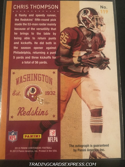 Chris Thompson Redskins 2013 Panini Contenders Autograph Rookie Card 119 Back