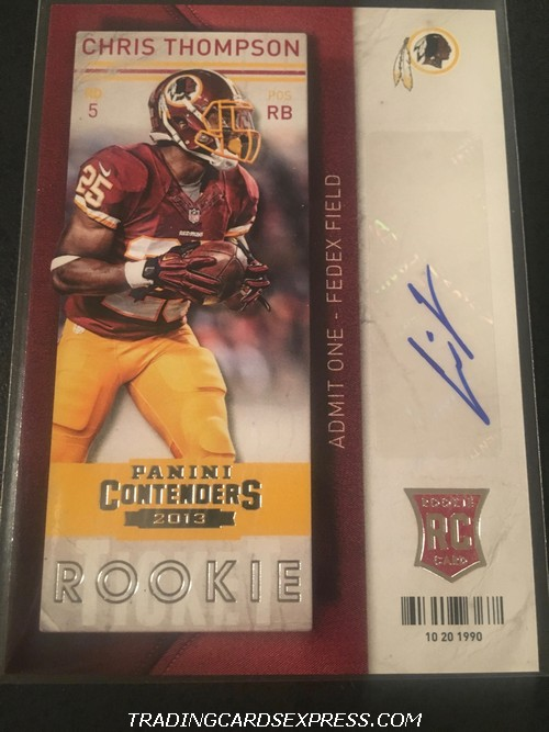Chris Thompson Redskins 2013 Panini Contenders Autograph Rookie Card 119 Front