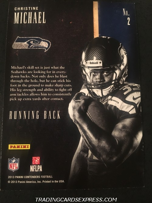Christine Michael Seahawks 2013 Panini Contenders Draft Class Rookie Card 2 Back