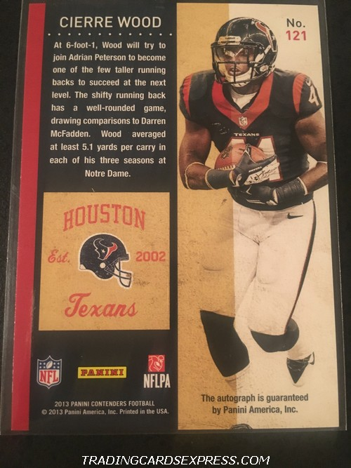 Cierre Wood Texans 2013 Panini Contenders Autograph Rookie Card 121 Back