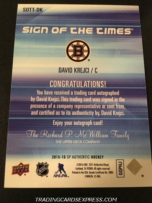 David Krejci Bruins 2015 2016 SP Authentic Sign Of The Times Autograph Card SOTTDK Back
