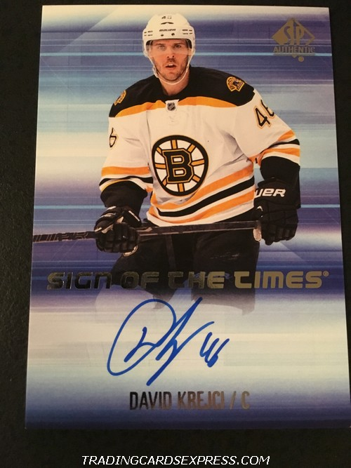 David Krejci Bruins 2015 2016 SP Authentic Sign Of The Times Autograph Card SOTTDK Front