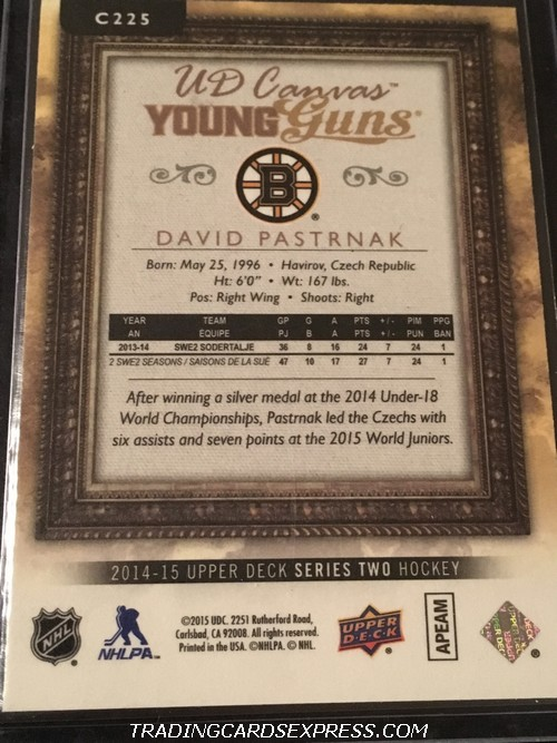 David Pastrnak Bruins 2014 2015 Upper Deck Young Guns Canvas Rookie Card C225 Back