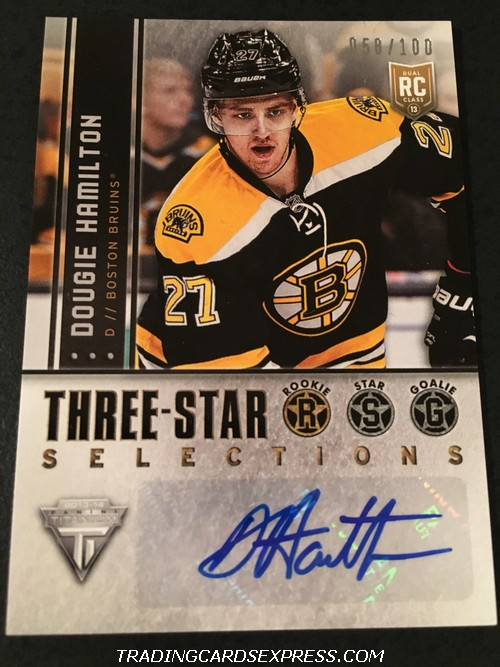Dougie Hamilton Bruins 2013 2014 Panini Titanium Three Star Selections Autograph Rookie Card 3RDH 058 100 Front