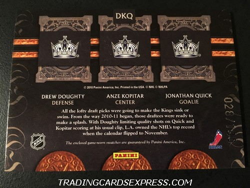 Drew Doughty Kings Anze Kopitar Kings Jonathan Quick Kings 2011 2012 Crown Royale Royal Lineage Jersey Card DKQ 028 100 Back