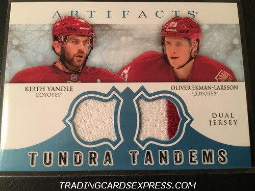 Keith Yandle Coyotes Oliver Ekman-Larsson Coyotes 2012 2013 Artifacts Tundra Tandems Jersey Card TTYE Front